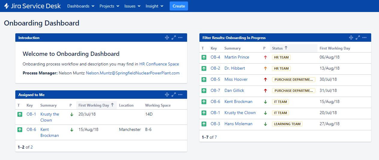 Jira dashboard for onboarding project. Shows tasks assigned to the currently logged in user and the list of overall tasks with current statuses.